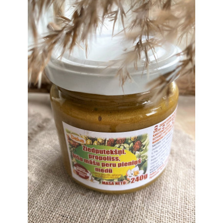 Honey with bee pollen, propolis and royal jelly 240g